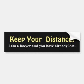 Adesivo De Para-choque Mantenha sua distância! Advogado - mensagem