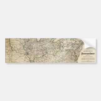 Adesivo De Para-choque Mapa da estrada de ferro de Pensilvânia (1871)