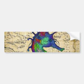 Adesivo De Para-choque mapa do papiro do cavalo marinho