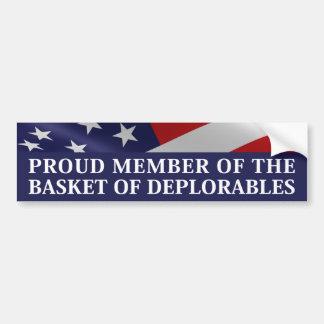 Adesivo De Para-choque Membro orgulhoso da cesta de Deplorables