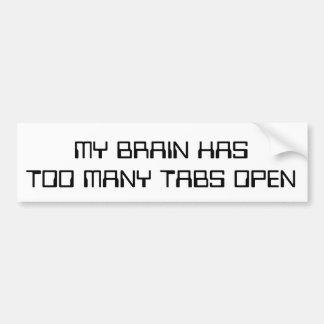 Adesivo De Para-choque Meu cérebro tem abas demais abertas