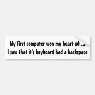 Adesivo De Para-choque Meu primeiro computador ganhou meu coração…