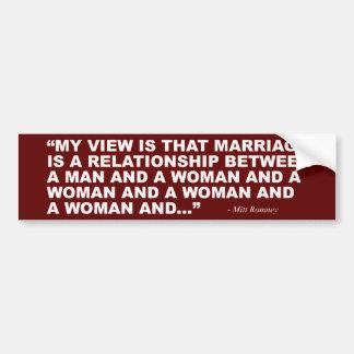 Adesivo De Para-choque Mitt Romney no casamento gay
