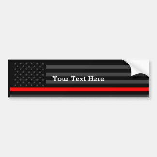 Adesivo De Para-choque Mostre a linha vermelha fina bandeira preta