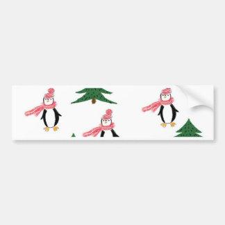 Adesivo De Para-choque Muffin do pinguim do Natal