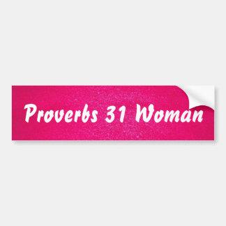 Adesivo De Para-choque Mulher dos provérbio 31 (fundo cor-de-rosa)