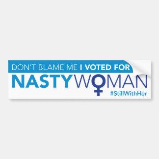 Adesivo De Para-choque Não me responsabilize, mim votou para a mulher