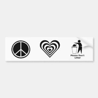 Adesivo De Para-choque O amor da paz e por favor não desarruma: Preto &