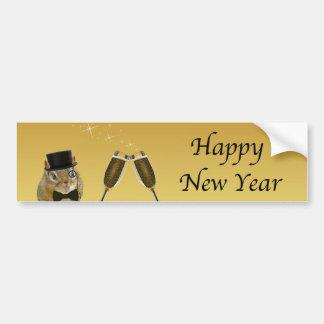 Adesivo De Para-choque O feliz ano novo bonito do Chipmunk