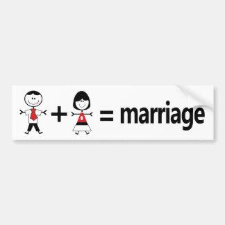Adesivo De Para-choque O homem mais a mulher iguala o casamento