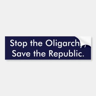 Adesivo De Para-choque Pare a oligarquia, salvar a república