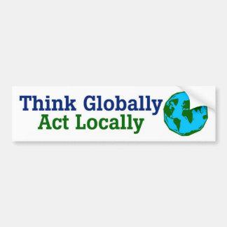 Adesivo De Para-choque Pense global, ato localmente