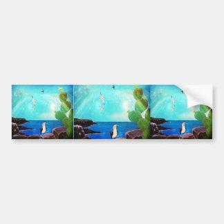 Adesivo De Para-choque Pintura azul dos pássaros de vôo do oceano
