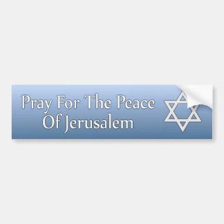 Adesivo De Para-choque Pray para a paz da estrela de David de Jerusalem
