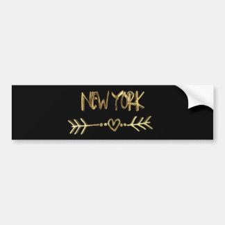 Adesivo De Para-choque Preto dos EUA do amor de New York e tipografia do