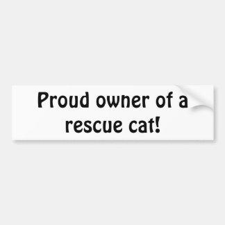 """Adesivo De Para-choque """"Proprietário orgulhoso de um gato do salvamento!"""""""