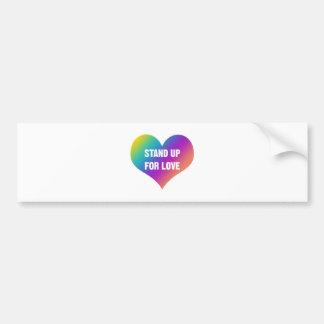 Adesivo De Para-choque Represente acima o amor (o coração do arco-íris)