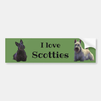 Adesivo De Para-choque Scottish Terrier, eu amo, wheaten/preto