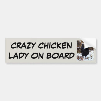 Adesivo De Para-choque Senhora louca da galinha a bordo
