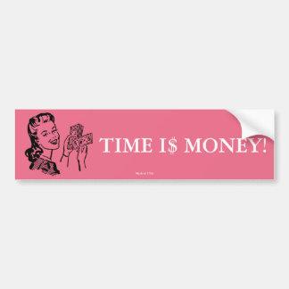 Adesivo De Para-choque Tempo é dinheiro autocolante no vidro traseiro