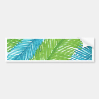Adesivo De Para-choque Teste padrão verde e azul das folhas de palmeira