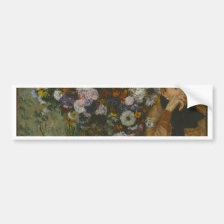 Adesivo De Para-choque Uma mulher assentada ao lado de um vaso das flores