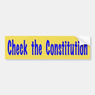 Adesivo De Para-choque Verifique a constituição