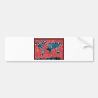 Adesivo De Para-choque vermelho 2 do mapa do mundo
