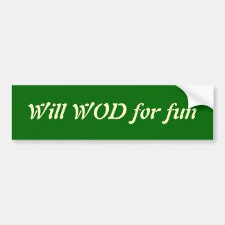 Adesivo De Para-choque WOD para o divertimento
