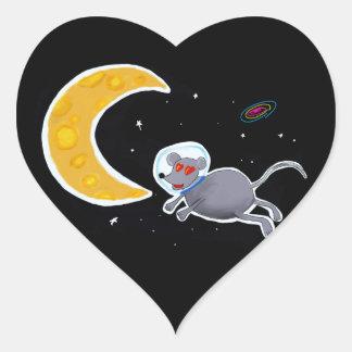 Adesivo Em Formato de Coração - Mouse In Space