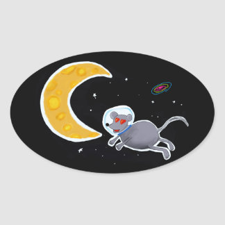 Adesivo em formato Oval - Mouse In Space