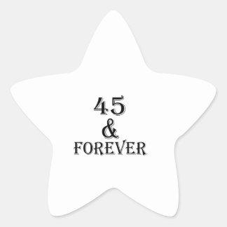Adesivo Estrela 45 e para sempre design do aniversário