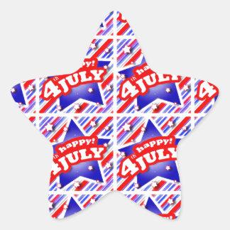 Adesivo Estrela 4o feliz do teste padrão do tema de julho