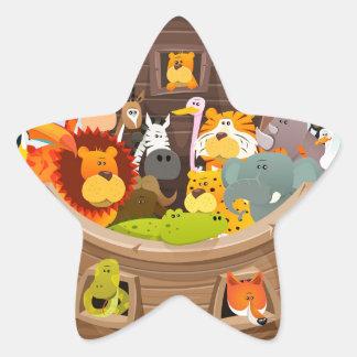 Adesivo Estrela A arca de Noah com animais da selva