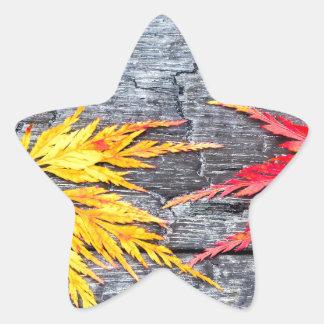 Adesivo Estrela A folha de bordo amarela e vermelha no preto