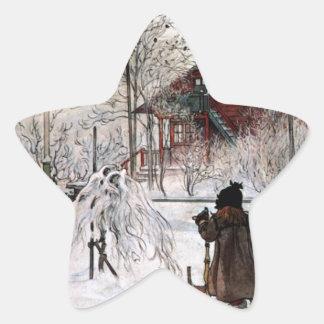 Adesivo Estrela A jarda e o Lavagem-House, Carl Larsson