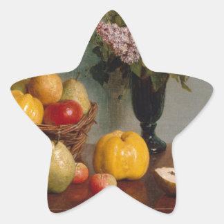 Adesivo Estrela Ainda vida com flores e fruta