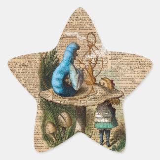 Adesivo Estrela Alice, cogumelo e Jin, arte do dicionário do