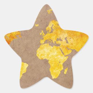 Adesivo Estrela amarelo do mapa do mundo