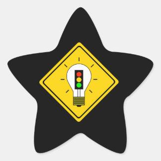 Adesivo Estrela Ampola do sinal de trânsito adiante