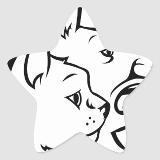Adesivo Estrela Animais de estimação gato e ícone das caras do cão