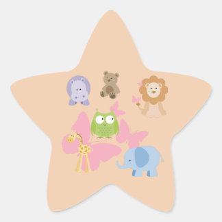 Adesivo Estrela Animais pequenos bonitos e borboletas