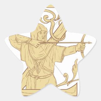 Adesivo Estrela Arqueiro medieval que aponta o desenhar da letra Z