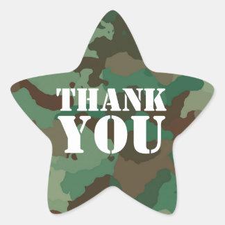 Adesivo Estrela As forças armadas verdes camuflam o selo do