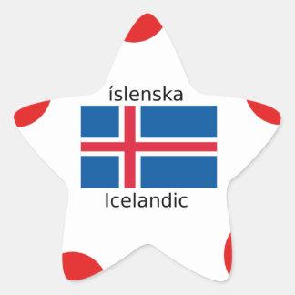 Adesivo Estrela Bandeira de Islândia e design islandês da língua