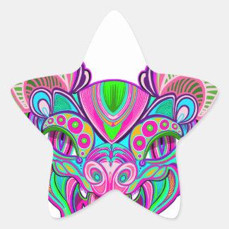Adesivo Estrela Bastão psicadélico do arco-íris