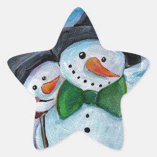 Adesivo Estrela Bonecos de neve de visita cardinais