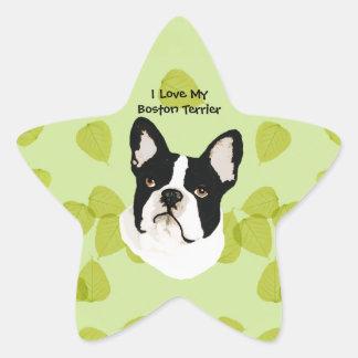 Adesivo Estrela Boston Terrier no design verde das folhas