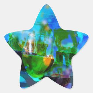 Adesivo Estrela Brindando vidros e notas da música