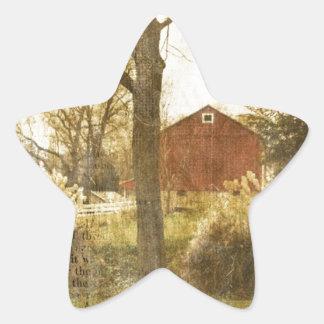 Adesivo Estrela Cabine vermelha primitiva da fazenda de árvore do